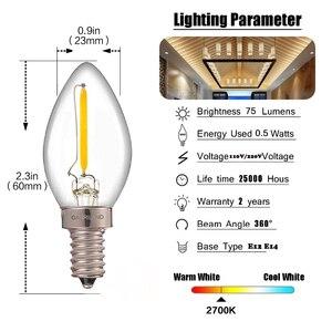 Image 4 - Ganriland C7 Led Dimmable Bulb E14 E12 0.5w Refrigerator Led Filament Light Bulb 2700k 110V 220V Chandelier Pendant Edison Lamps