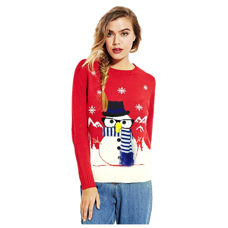 Women New Fashion Autumn Winter Christmas Pattern Knitted Christmas Snowman And Snow Sweaters Lovelys Sweater(RED,ONE SIZE)