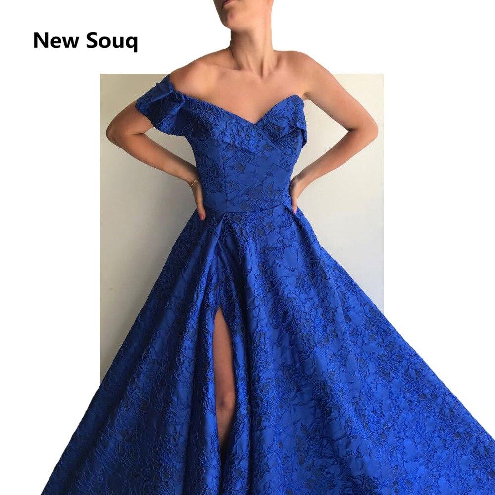 Royal Blue Full Lace Evening Dresses Sexy One Shoulder Side Split Sweep Train Long Prom Dress Custom Made Red Carpet Dress