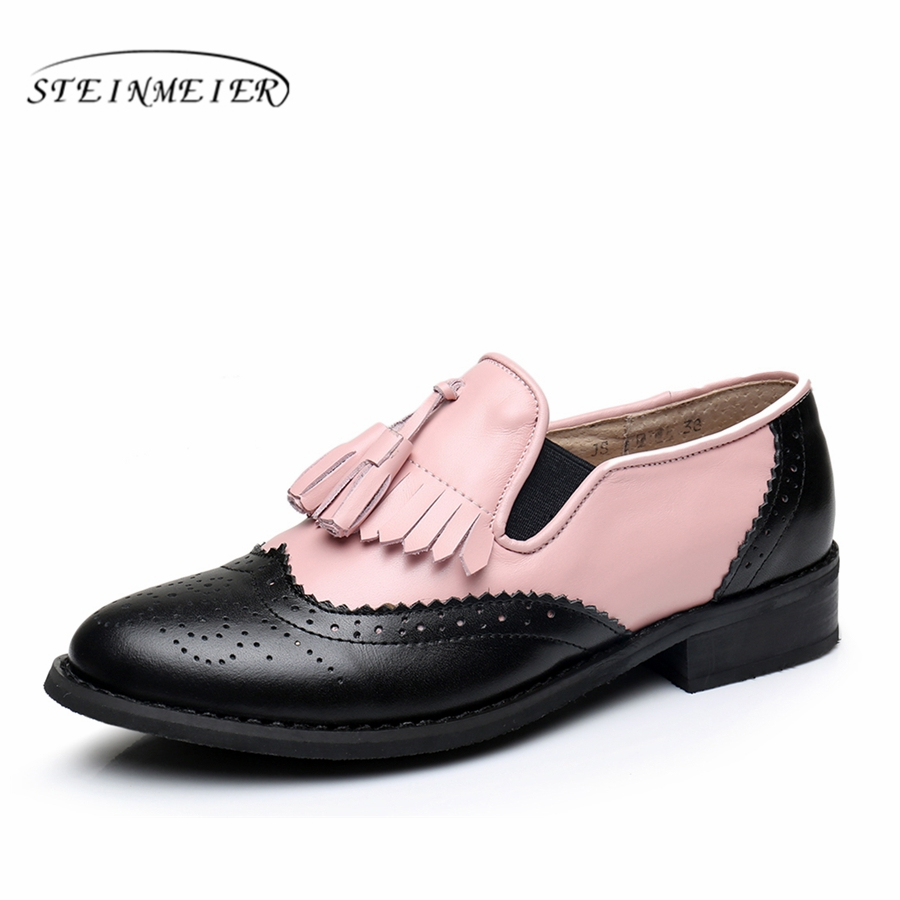 Women Genuine leather flats tassel oxford shoes pink black vintage round toe handmade flats oxfords shoes for women fur genuine leather woman size 9 designer yinzo vintage flat shoes round toe handmade black grey oxford shoes for women 2017