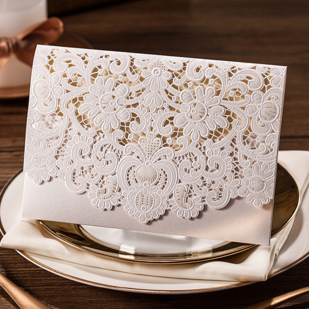100pcs Lace Ivory Horizontal Laser Cut Wedding Invitation Cards with Hollow Flora Favors Cardstock for Engagement Bridal Shower-in Cards & Invitations from Home & Garden    1