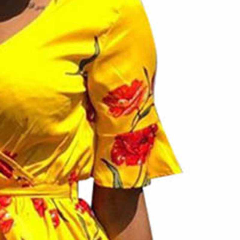 Сексуальное короткое платье женское с v-образным вырезом Бохо желтый Шикарный цветок с принтом романтическое летнее Африканское повседневное пляжное стильное кружевное платье