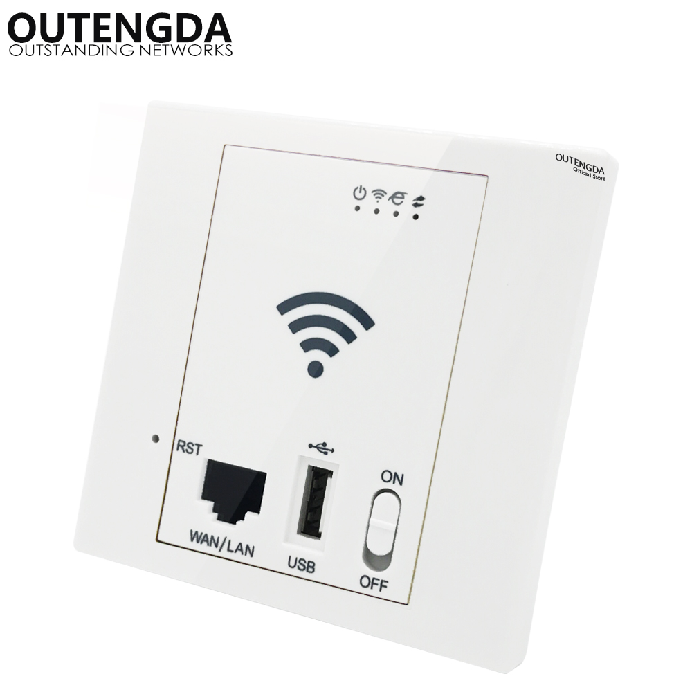 OUTENGDA 300M 802.11N Wireless In Wall AP For Hotel Smart Home Access Point  WiFi Router Repeater  POE Supported White/Champagne