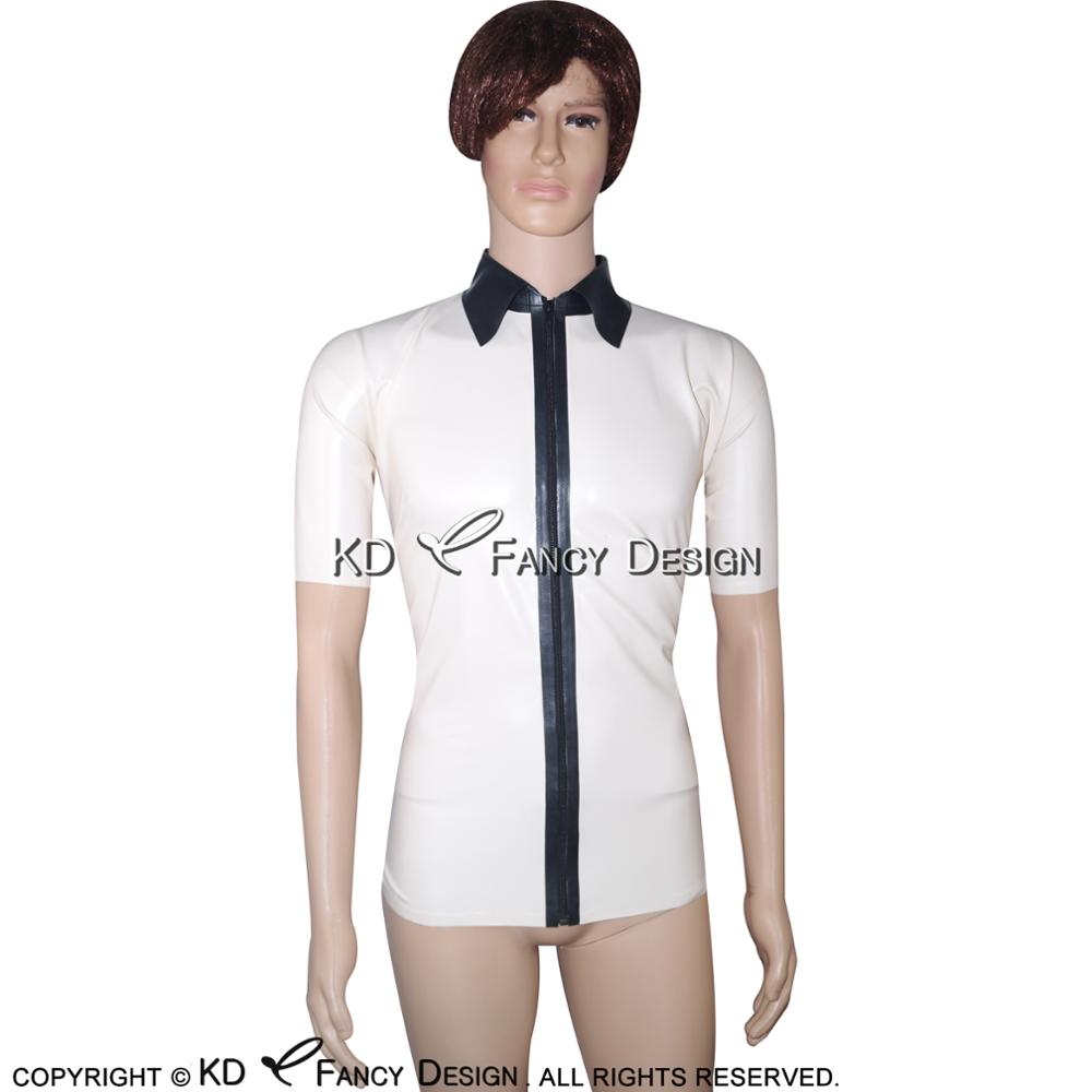 Shirts Motivated White With Black Sexy Latex Shirt With Zip At Front Short Sleeves Rubber Clothings Yf-0028 Evident Effect Men's Clothing