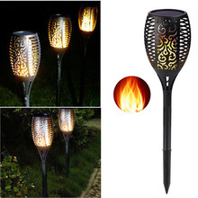 Solar powered LED Flame Lamp Waterproof 96LEDs Lawn Flame Flickering Torch Light Outdoor Solar LED Fire Lights Garden Decoration все цены