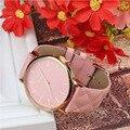 2016 venta caliente de cuero de imitación de moda de lujo de ginebra relojes del color del caramelo del reloj de cuarzo Marca de fábrica precios Mujeres Hombres Reloj Relogio