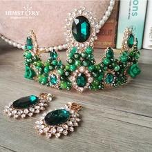 HIMSTORY Handmade European  Baroque Vintage Green Crystal Rhinestone Bridal Tiaras Crowns Woman Pearl Wedding Hair Accessories