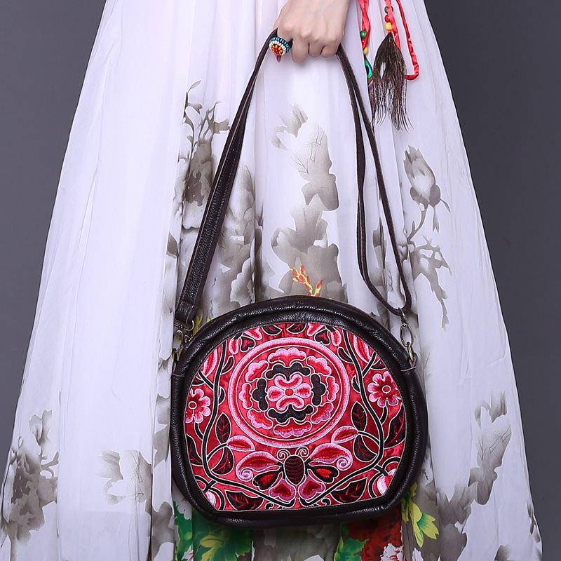 Elegant lady fashion circular bag classic national style embroidery women crossbody bag genuine leather shoulder messenger bags 2016 new style women handbags elegant stone crossbody bag fashion embossed lady s genuine leather portable bags
