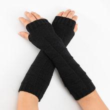 6fcd72fb684a Feitong invierno las mujeres guantes largos brazo sólido calentador de  punto guantes sin dedos largos guantes
