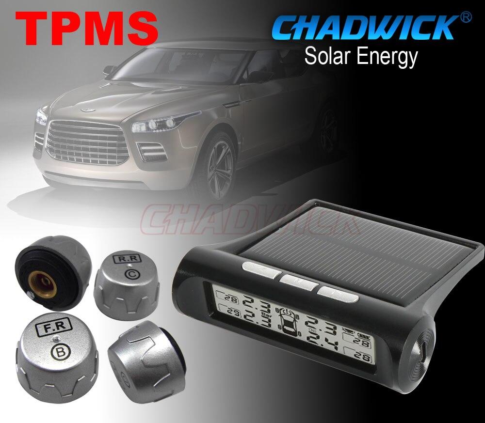 Nouveau système Intelligent de surveillance de la pression des pneus de voiture affichage de LED sans fil à énergie solaire TPMS avec 4 capteurs externes CHADWICK bricolage EZ