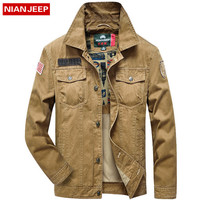NIANJEEP Men S Military Jacket High Quality 2016 Autumn Cotton Casual Mens Outdoor Jacke Khaki Army