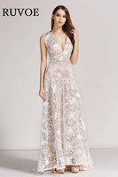 High Quality Mother of Bride Party Dress 2017 Summer Casual Lace V neck Sleevless Floral Embroidery Long Maxi Dress Vestidos TH3