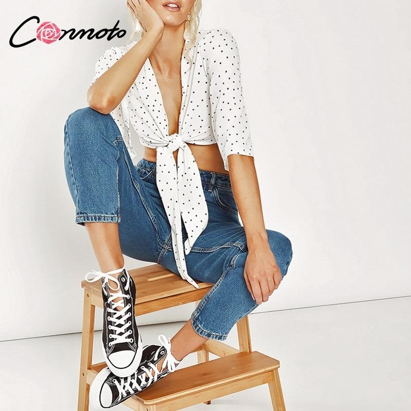 Conmoto Flare Sleeve Crop   Blouse   Top Women Causal Sexy White   Blouses   Polka Dot Short Elegant Feminino   Blouse     Shirt   Blusa