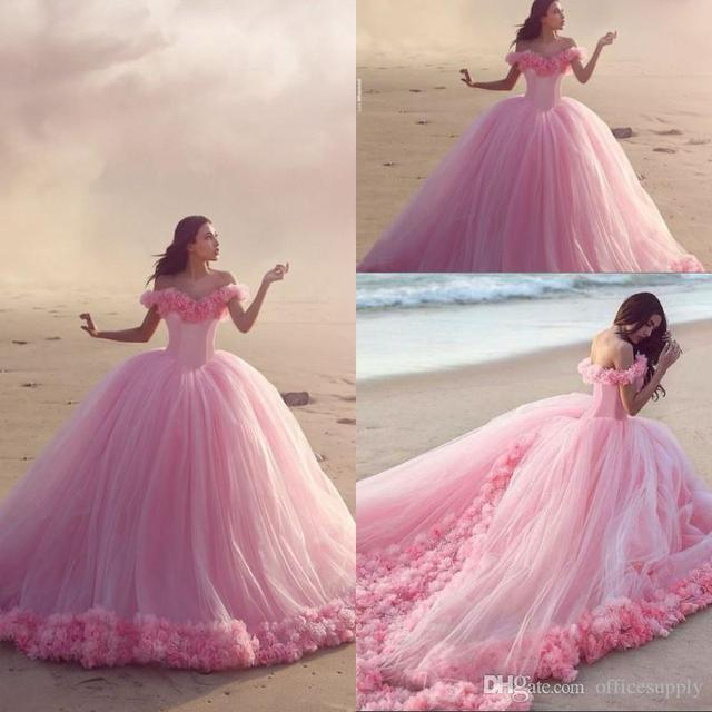 b28ec2b26bb Sexy Pink Quinceanera Dresses 2017 Off the Shoulder Ruched Ruffled Flowers  Vestidos De 15 Lovely Sweetheart Tulle Sweet 16 Dress