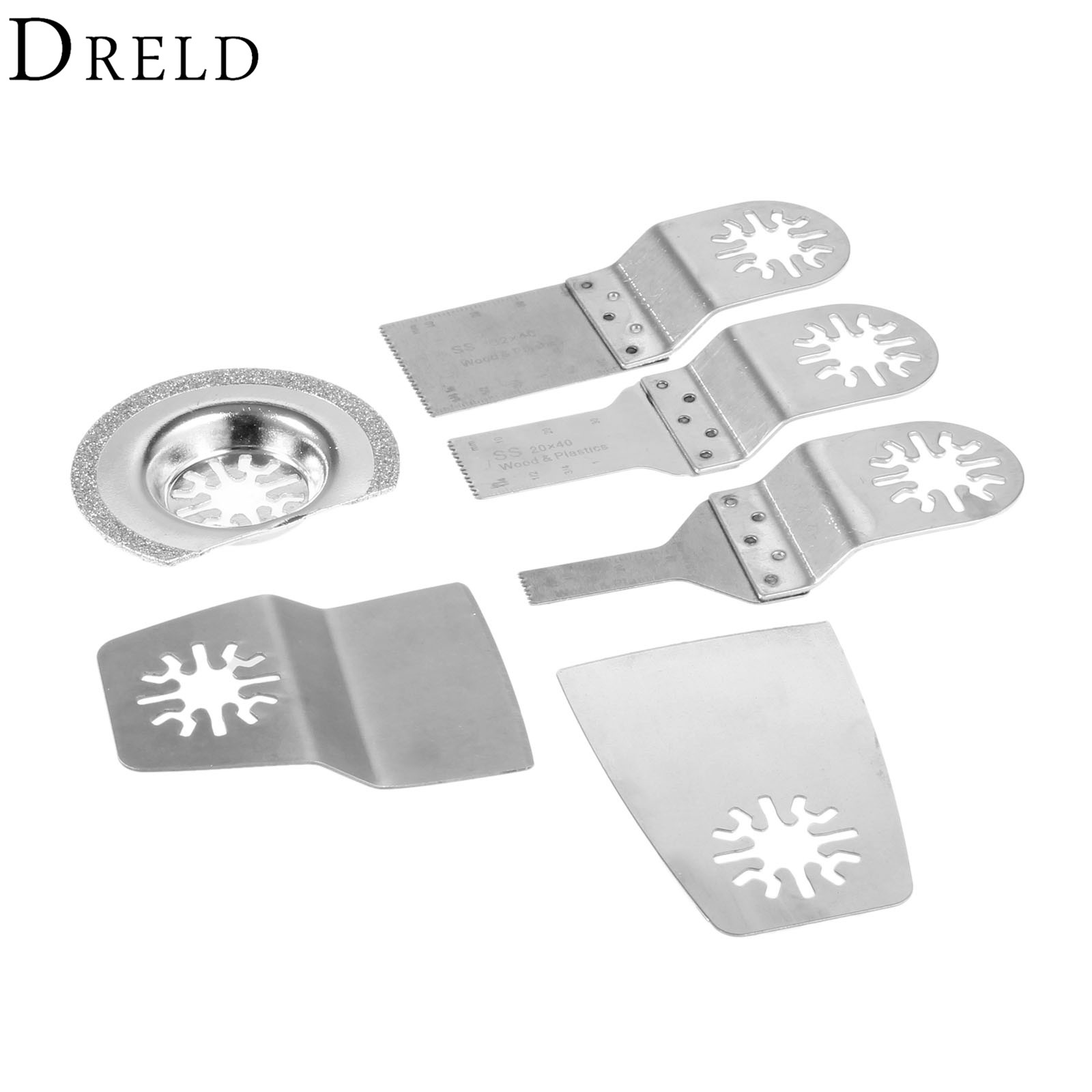 DRELD 6Pcs Oscillating Multi Tool Kit SS Saw Blade Set Wood Cutting For Renovator Power Tool Bosch Fein Dremel Multimaster TCH