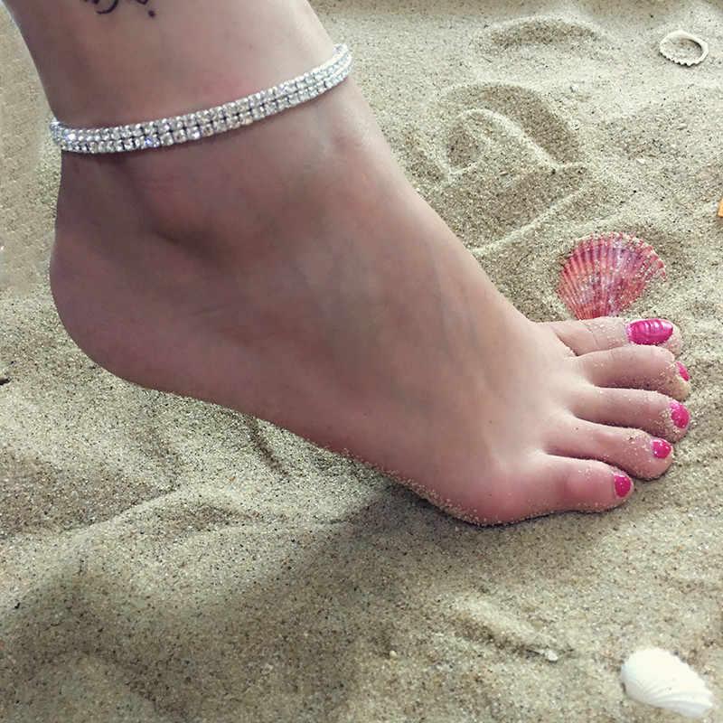 DIEZI 高級ウェディングブライダル銀水晶アンクレット女性の足首のブレスレットサンダル花嫁の靴裸足ビーチギフト 2017