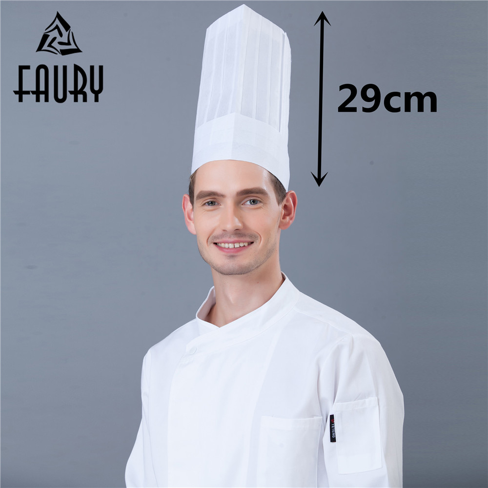 2018 NEW Unisex Nonwoven High Middle Flat Round Hat Restaurant Hotel Kitchen Cooking Work Wear Chef Hats White Black 10Pcs/Lot