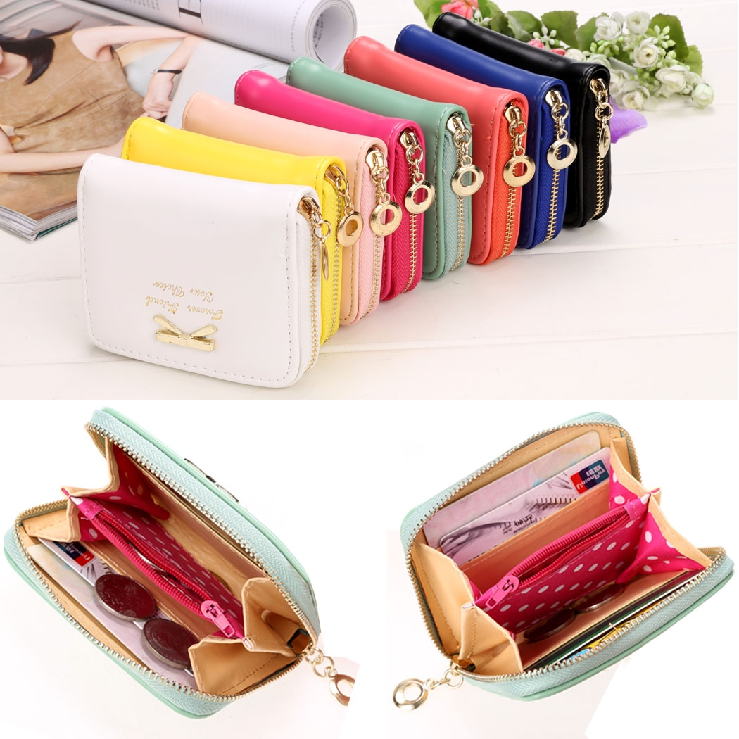 2019 High Quality Brand Wallet Women Bowknot Small Purse PU Artificial Leather Wallet Female Zipper Coin Purse Wallet Overwatch