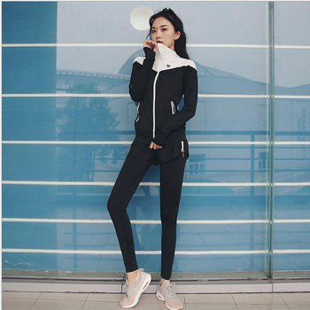 c8c4ab5be Traje de Deportes de las mujeres ropa deportiva femenina para mujer  gimnasio ropa yoga ropa de deporte deportivo abrigo + yoga polainas 2  piezas conjunto