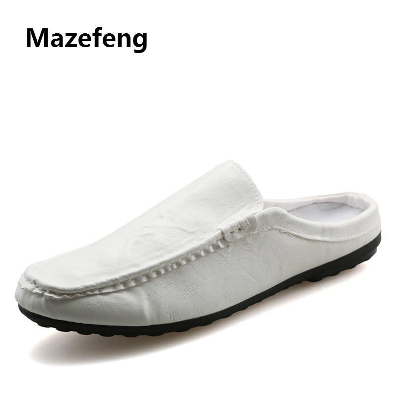 Mazefeng Men Fashional Men Shoes Simple Casual Sandals Shoes Solid Outdoor Leather Sandals Round Toe Male Shoes Summer Sandals