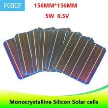 10 pcs 5BB UM Grau 156*156mm 4.9 w 0.5 v Células Solares de Silício Monocristalino 6×6 para o Painel Solar DIY carregador solar do telefone celular