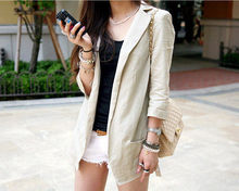 Europe 2017 Summer Women Linen Blazer Slim Thin Small Suit 3 Quarter Sleeve Jacket Single Button Top Beige/White S/M/L/XL/XXL