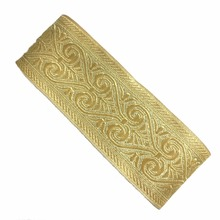 ZERZEEMOOY wide 49MM 10yard/lot Polyester Woven Jacquard Ribbon light gold Geometric pattern for curtain and clothing accessory