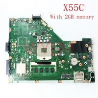 X55C with 2GB RAM memory mainboard For ASUS X55C X55VD X55V X55CR Laptop motherboard 60 N0OMB1100 C01 100% Tested free shipping