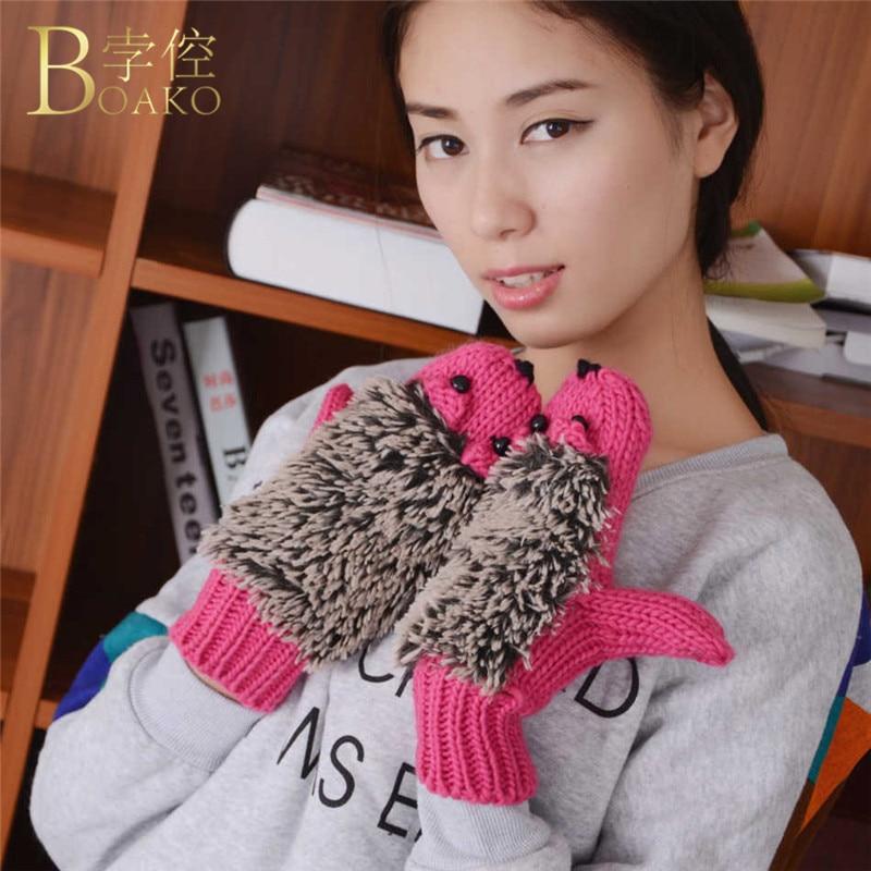 Girls Women Winter Warm Wrist Gloves Fleece Cartoon Cartoon Hedgehog Fur Mittens