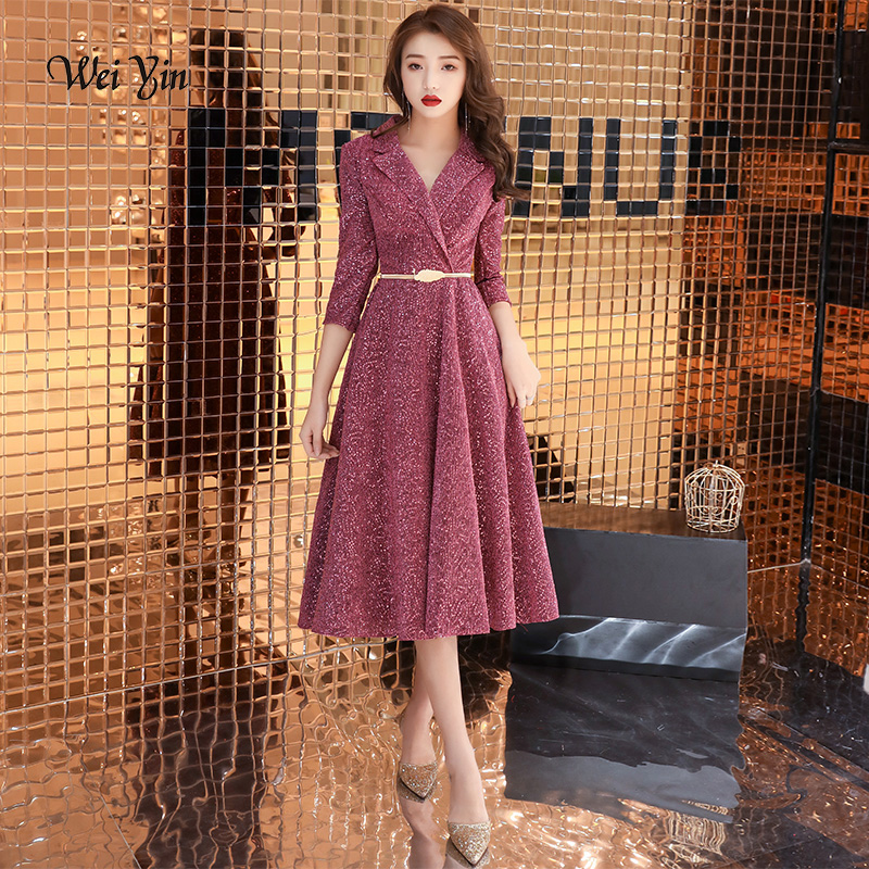 weiyin Sexy V Neck Evening Dresses Calf Length Elegant Formal Dress with Tassel Sequined Simple Chic Women Gown WY1290