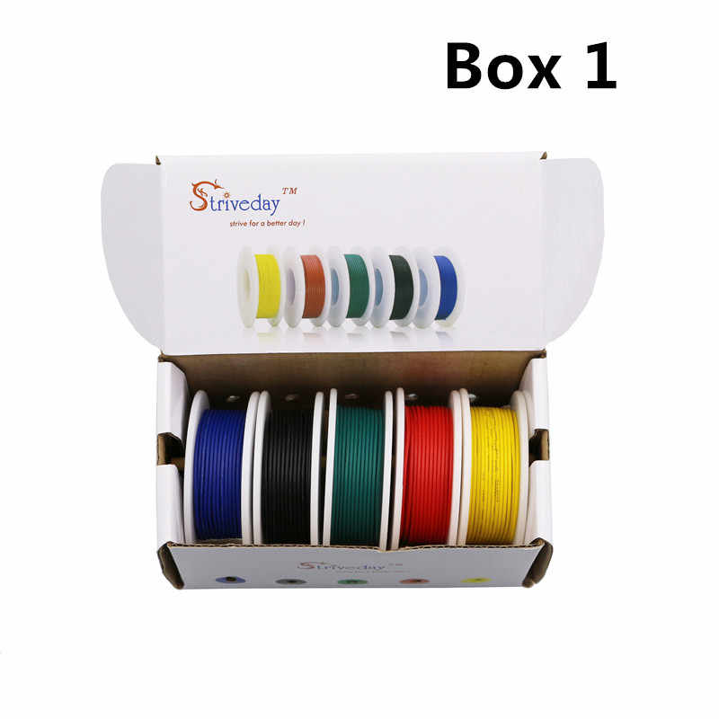 Boîtes de câbles électriques de 5 couleurs, 28/26/24/22/20/18 awg, fil torsadé de PCB et de cuivre
