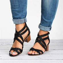 2019 Ankle Wrap Heels Women Gladiator Cross Sandals Summer Shoes Women Open Toe Chunky High Heels Sandals Sandalias Mujer P25 цена в Москве и Питере