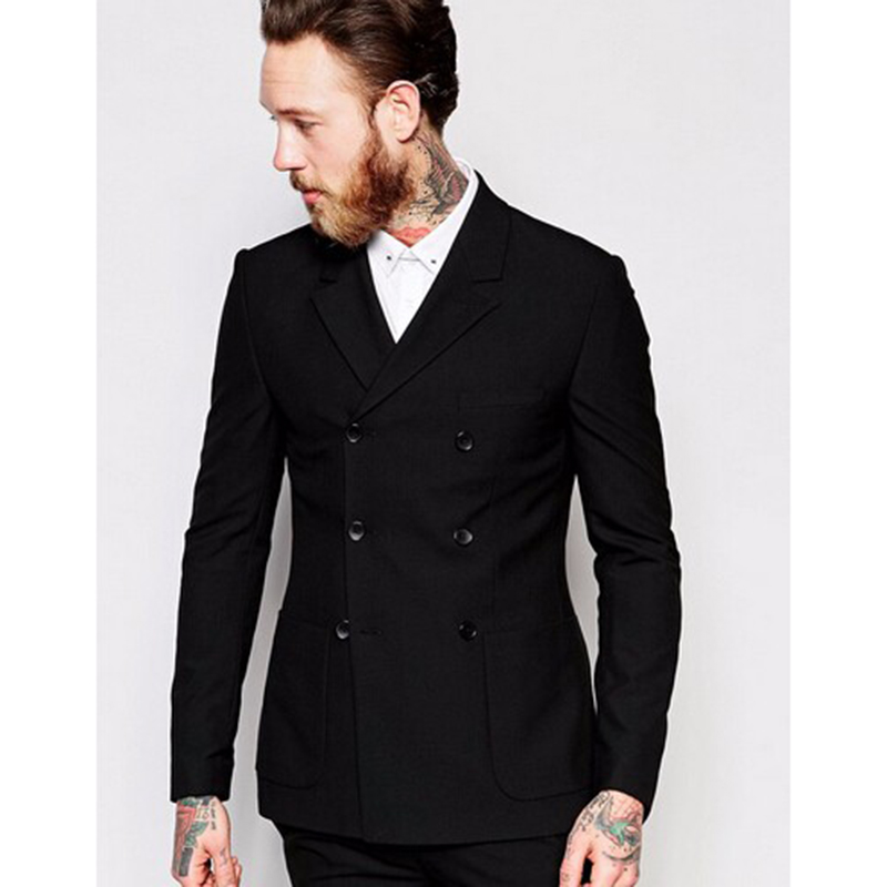 (Jacket+Pant) Handsome Black Double Breasted Mens Suits Wedding Suits For Men Groom Suit Groomsmen Tuxedos Mens Wedding Suits
