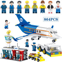 Technik 864pcs City Center Airport Radar Compatible Legoed Aircraft Car Building Blocks Mini sets Figures Bricks Toys for kids