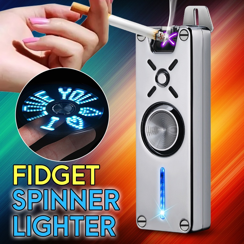 Hand Spinner Cigarette Lighter USB Rechargeable Electric Plasma Lighter Double Flame Electronic Gadgets For Men Kids Finger Toy