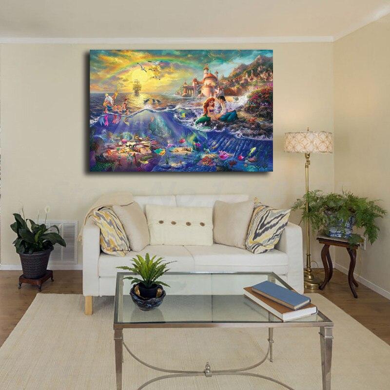 Living Room Art Printables: Thomas Kinkade Little Mermaid Tramp Hd Painting Wall Art