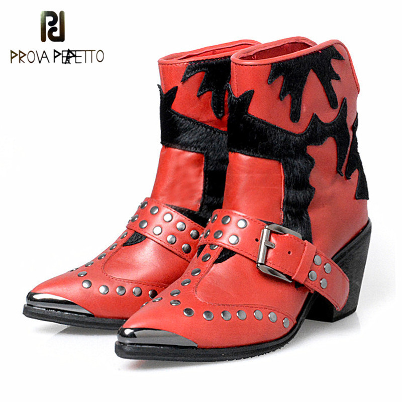 Prova Perfetto Fashion Real Horse Hair Mixed Color High Heel Knight Boots Rivet Buckle Pointed Toe Chunky Heel Women Short Boots