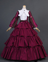 18th Century Dress Civil War Striped Puff Sleeved Tiered Burgundy Ball Gown Dress Reenactment Stage Costumes