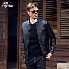 Enjeolon new 2017 brand PU Motorcycle Leather Jacket Men regular fabric fashion Clothing Casual black Coats