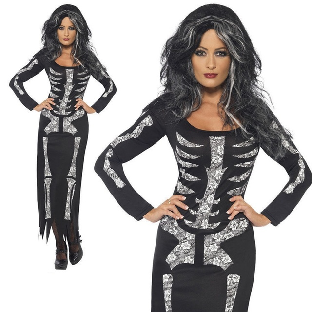1fe6756839 US $2.5 27% OFF|Plus Size 2XL Halloween Long Dress Skeleton Print Scary  Horror Costumes Play New Ghost Clothes Strech Party Cosplay Dress F2-in  Scary ...