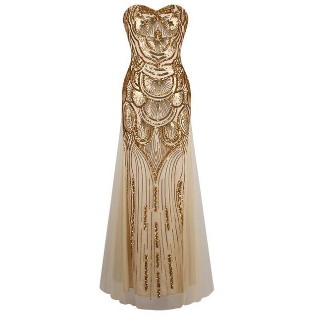 Новое Прибытие Vestido Де Феста 2016 Летняя Мода Блестками Женщины Долго Dress Sexy Тонкий Без Бретелек Платья Партии Элегантный Vestidos
