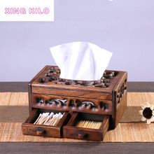 XING KILO Vintage tissue box wood Creative wooden car paper pump Multifunctional Book living room European