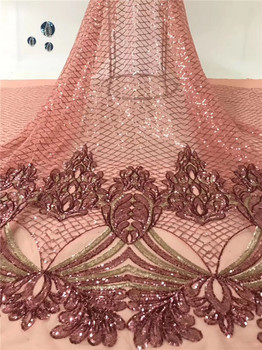 Amazing evening dress material French tulle net lace fabric with sequins for sewing shinning dress  PDN252(5yards/lot)