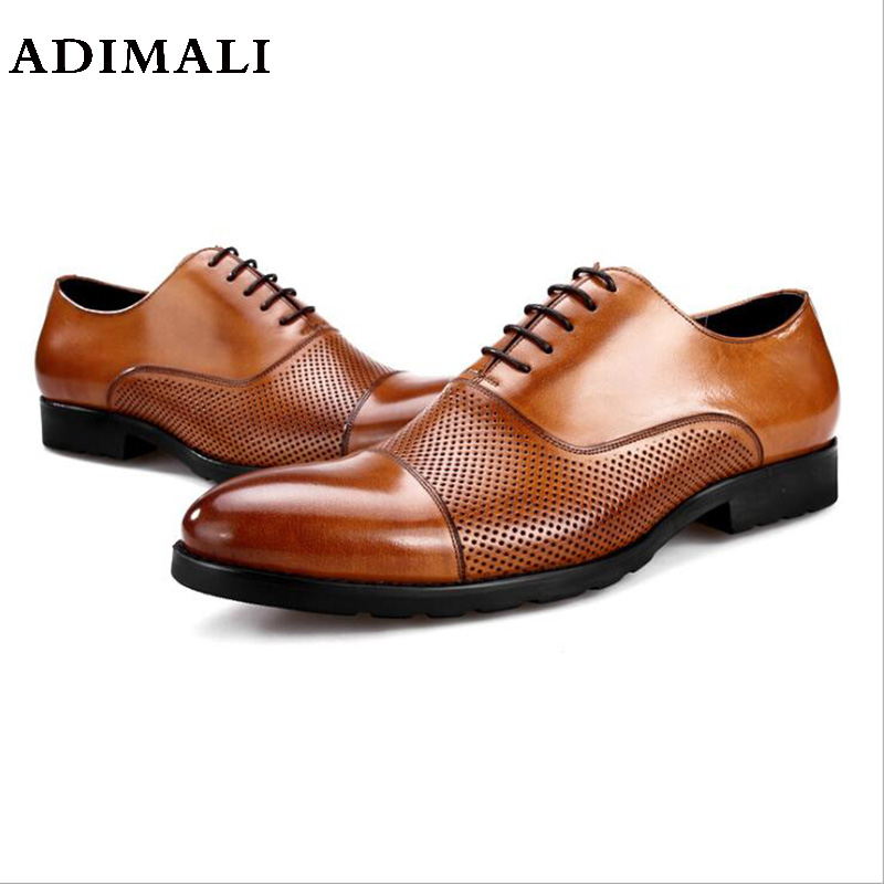 High quality black / brown dress shoes mens oxfords shoes genuine leather business shoes mens formal wedding shoes Office top quality business men cow real leather shoes black brown oxfords for man work dress footwear wedding formal shoes