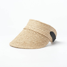 2019 Transparent Visor Straw Sun Hat Women Lafite Weaving Summer Caps Empty Top Foldable Beach