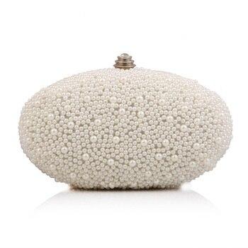 High quality Elegant  Pearl Clutch Bag Oval Shape Beaded Evening Bag women clutch purse bag Diamond Wedding party Handbag