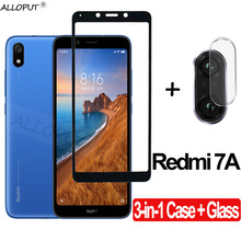 3-in-1 Full Protection Case + Glass For Redmi 7A Tempered Screen Protector Xiaomi Clear