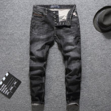 Black Color Fashion Buttons Pants Mens Jeans Slim Fit Classic Brand Men Jeans Dropshipping Quality Guaranteed Ripped Jeans Men все цены