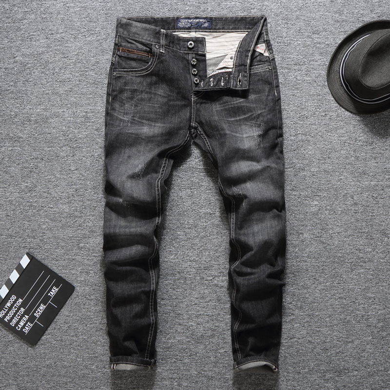 Black Color Fashion Buttons Pants Mens   Jeans   Slim Fit Classic Brand Men   Jeans   Dropshipping Quality Guaranteed Ripped   Jeans   Men
