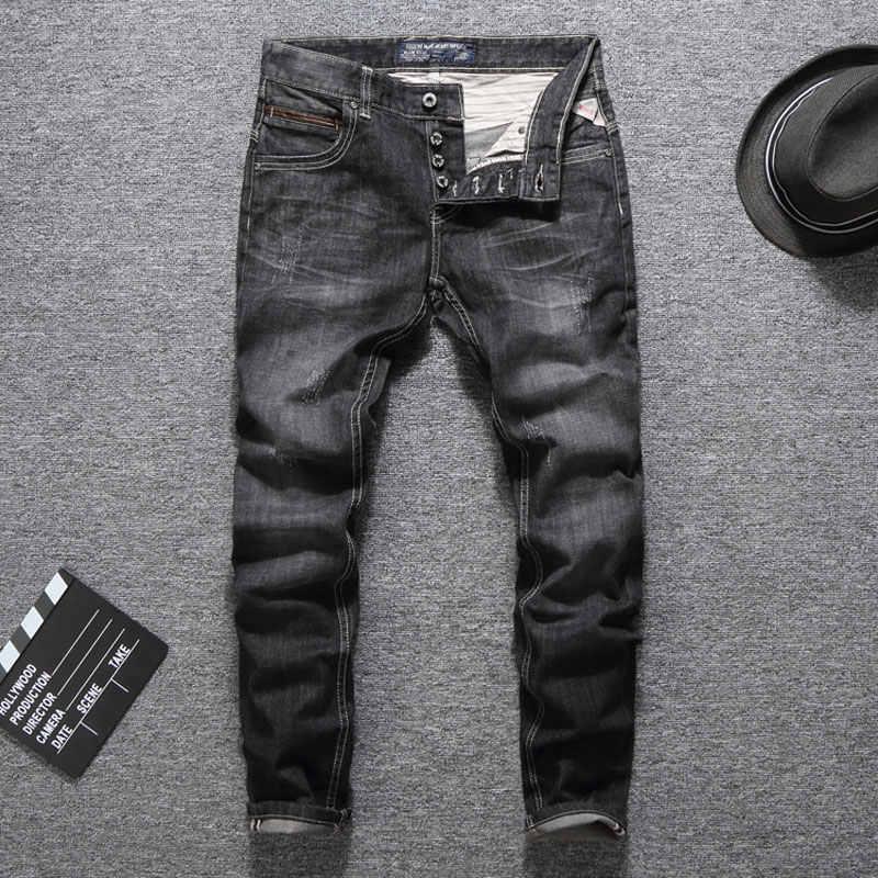 Черные модные брюки На Пуговицах Мужские джинсы s обтягивающие классические Брендовые мужские джинсы дропшиппинг качество гарантированное рваные джинсы мужские